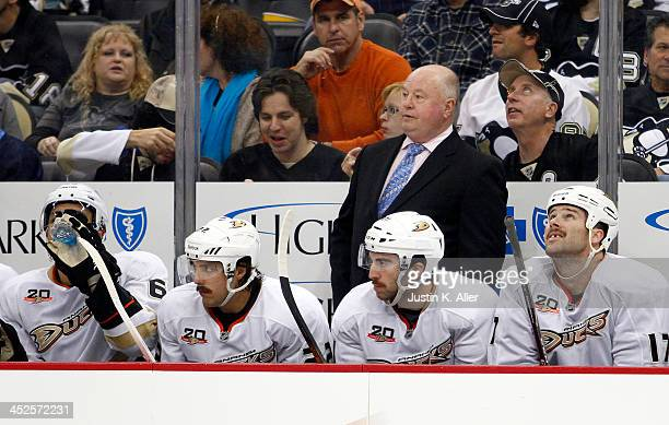 Bruce Boudreau of the Anaheim Ducks skates against the Pittsburgh Penguins during the game at Consol Energy Center on November 18, 2013 in...