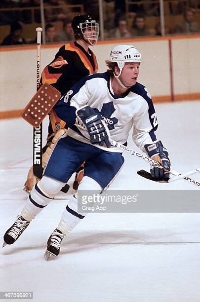 Bruce Boudreau of the Toronto Maple Leafs skates up ice against the Vancouver Canucks at Maple Leaf Gardens in Toronto Ontario Canada on February 10...