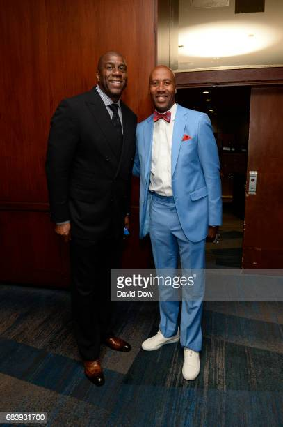 Bruce Bowen and Magic Johnson smile during the 2017 NBA Draft Lottery at the New York Hilton in New York New York NOTE TO USER User expressly...