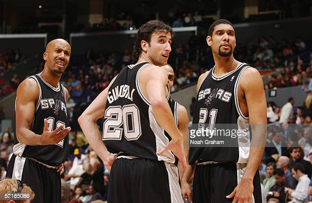 Bruce Bowen of the San Antonio Spurs protests a call next to Manu Ginobili Tony Parker and Tim Duncan during the game against the Los Angeles Lakers...