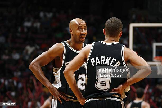 Bruce Bowen talks to Tony Parker of the San Antonio Spurs during the game against the New Jersey Nets on February 10 2006 at the Continental Airlines...
