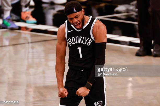 Bruce Brown of the Brooklyn Nets celebrates during the second quarter against the Milwaukee Bucks during Game One of the Eastern Conference second...