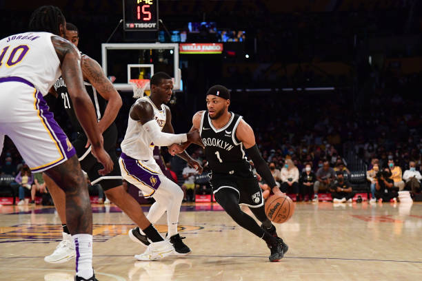 Bruce Brown of the Brooklyn Nets drives to the basket during the game against the Los Angeles Lakers on October 3, 2021 at STAPLES Center in Los...