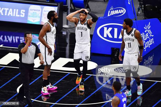 Bruce Brown of the Brooklyn Nets reacts to a foul in the second half against the Orlando Magic at Amway Center on March 19, 2021 in Orlando, Florida....
