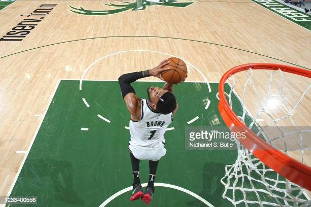 Bruce Brown of the Brooklyn Nets shoots the ball against the Milwaukee Bucks during Round 2, Game 3 of the 2021 NBA Playoffs on June 10, 2021 at the...