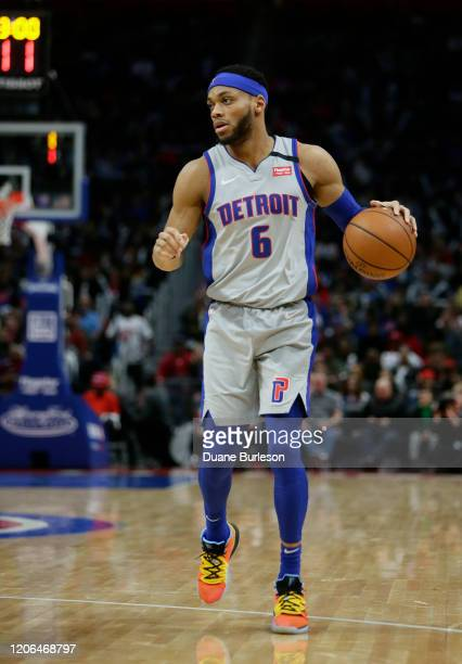 Bruce Brown of the Detroit Pistons during the second half of a game against the New York Knicks at Little Caesars Arena on February 8 in Detroit...