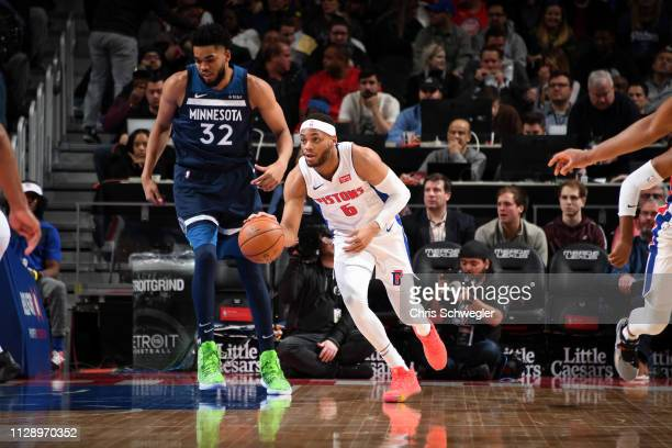 Bruce Brown of the Detroit Pistons handles the ball against the Minnesota Timberwolves on March 6 2019 at Little Caesars Arena in Detroit Michigan...