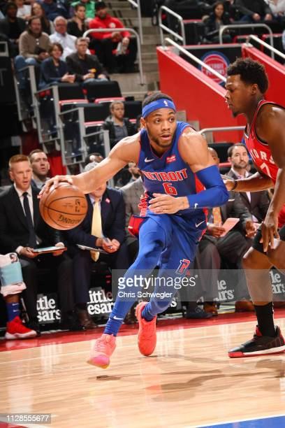 Bruce Brown of the Detroit Pistons handles the ball during the game against Kyle Lowry of the Toronto Raptors on March 3 2019 at Little Caesars Arena...