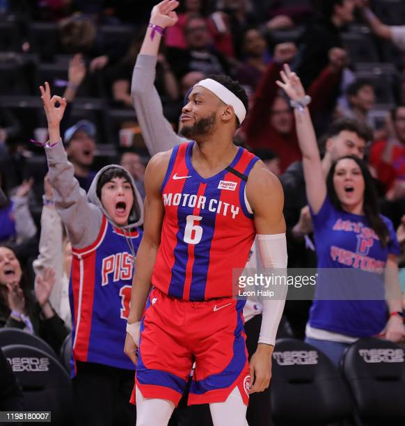 Bruce Brown of the Detroit Pistons makes a three point shot late in the game against the Denver Nuggets at Little Caesars Arena on February 2 2020 in...
