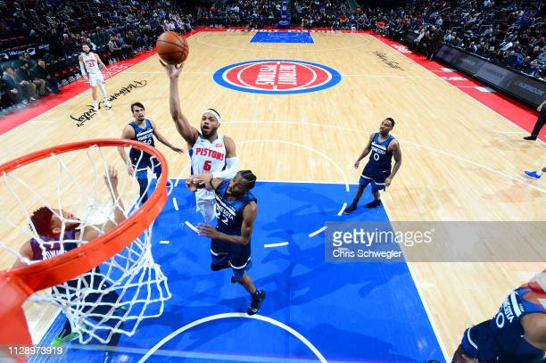 Bruce Brown of the Detroit Pistons shoots the ball against the Minnesota Timberwolves on March 6 2019 at Little Caesars Arena in Detroit Michigan...