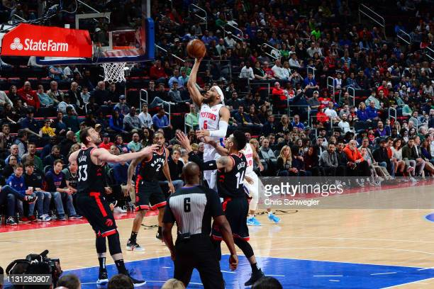 Bruce Brown of the Detroit Pistons shoots the ball against the Toronto Raptors on March 17 2019 at Little Caesars Arena in Detroit Michigan NOTE TO...