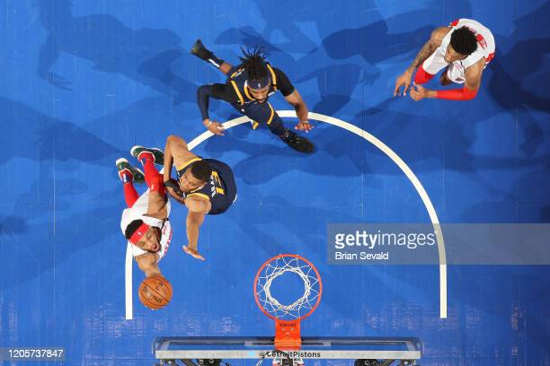 Bruce Brown of the Detroit Pistons shoots the ball against the Utah Jazz on March 7 2020 at Little Caesars Arena in Detroit Michigan NOTE TO USER...