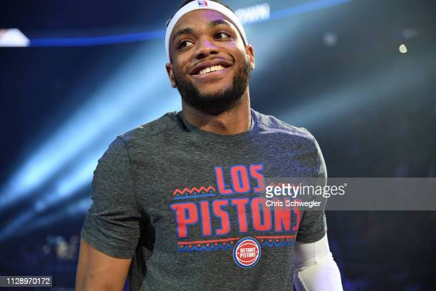 Bruce Brown of the Detroit Pistons smiles before the game against the Minnesota Timberwolves on March 6 2019 at Little Caesars Arena in Detroit...
