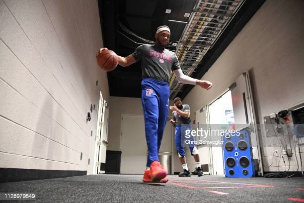 Bruce Brown of the Detroit Pistons warms up before the game against the Minnesota Timberwolves on March 6 2019 at Little Caesars Arena in Detroit...