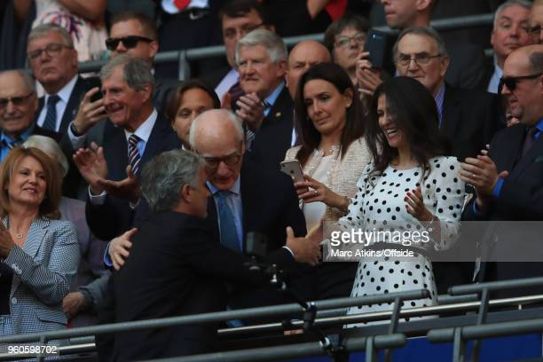Bruce Buck Chairman of Chelsea and Director Marina Granovskaia greet Jose Mourinho manager of Manchester United during The Emirates FA Cup Final...