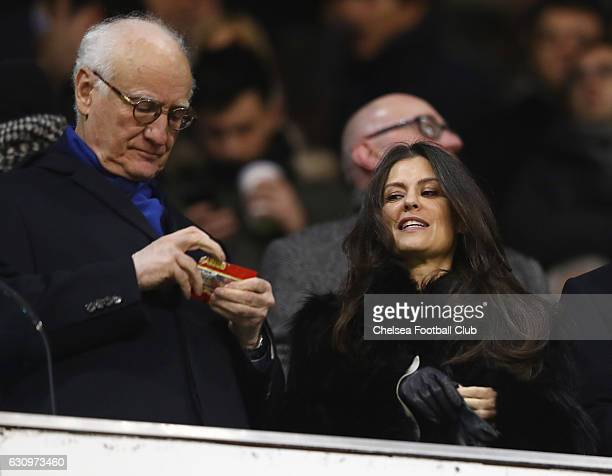 Bruce Buck Chairman of Chelsea and Marina Granovskaia Director of Chelsea are seen in the stands during the Premier League match between Tottenham...