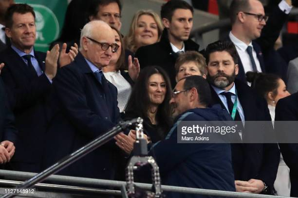 Bruce Buck Chelsea chairman and Director Marina Granovskaia look on at Maurizio Sarri manager of Chelsea during the Carabao Cup Final between Chelsea...