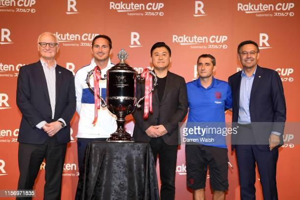 Bruce Buck Frank Lampard of Chelsea Hiroshi Mikitani of Rakuten and Ernesto Valverde and Josep Maria Bartomeu of Barcelona during a Rakuten Welcome...