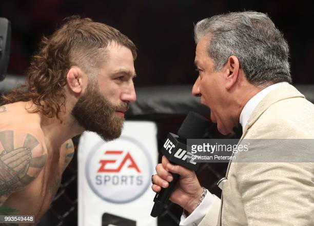 Bruce Buffer announces Michael Chiesa before facing Anthony Pettis in their lightweight fight during the UFC 226 event inside TMobile Arena on July 7...
