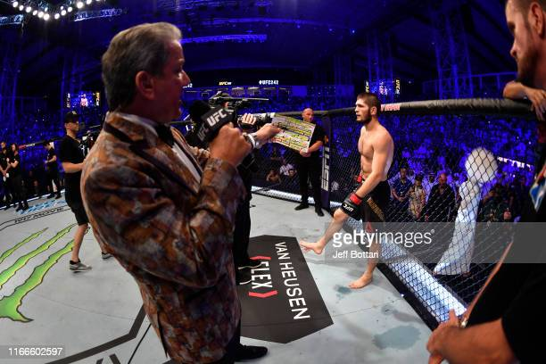 Bruce Buffer introduces Khabib Nurmagomedov of Russia prior to his lightweight championship bout during UFC 242 at The Arena on September 7 2019 in...