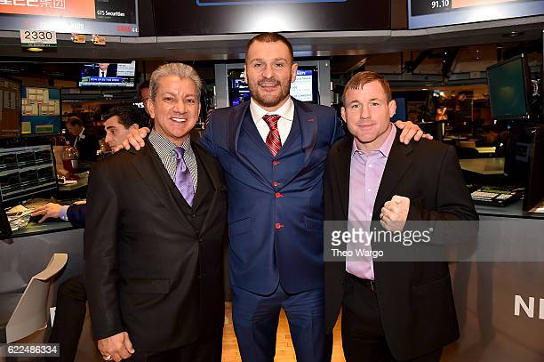 Bruce Buffer Stipe Miocic and Matt Hughes attend as the UFC Highlights Their New York City Debut At The NYSE Closing Bell at New York Stock Exchange...