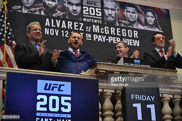 Bruce Buffer Stipe Miocic Matt Hughes and Global Head of Listings NYSE John Tuttle attend as the UFC Highlights Their New York City Debut At The NYSE...