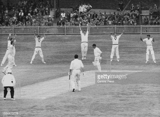 Bruce Buggins of Australia and wicketkeeper for the Western Australia Combined XI raises his arms in celebration along with the whole slip cordon...