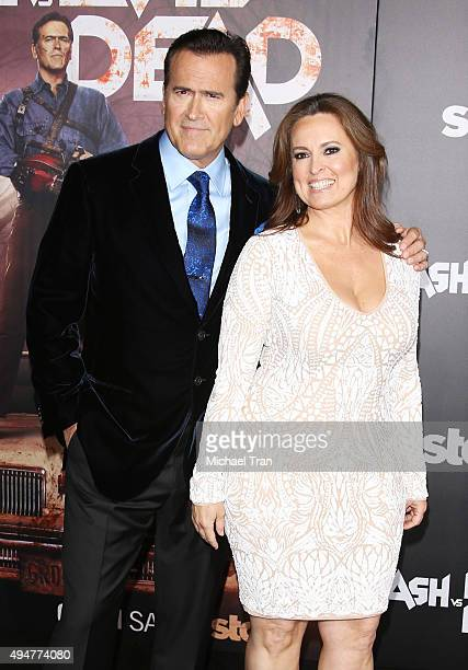 Bruce Campbell and wife Ida Gearon arrive at the Los Angeles premiere of STARZ's Ash Vs Evil Dead held at TCL Chinese Theatre on October 28 2015 in...