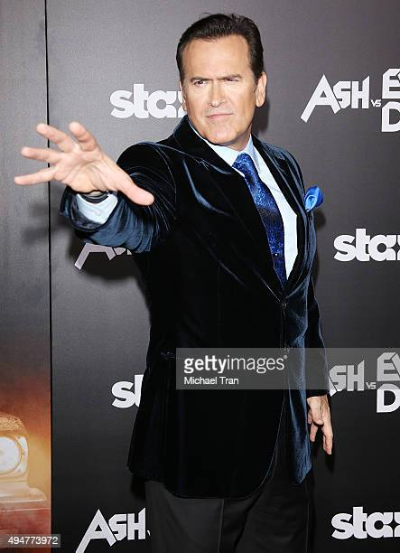 Bruce Campbell arrives at the Los Angeles premiere of STARZ's Ash Vs Evil Dead held at TCL Chinese Theatre on October 28 2015 in Hollywood California