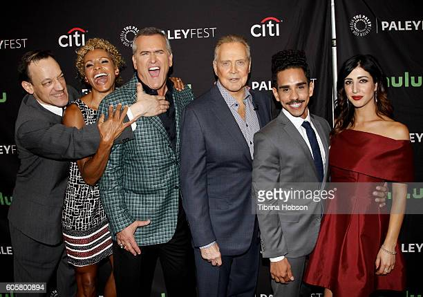Bruce Campbell Lee Majors Ted Raimi Michelle Hurd Ray Santiago and Dana DeLorenzo attend The Paley Center for Media PaleyFest 2016 fall TV preview...