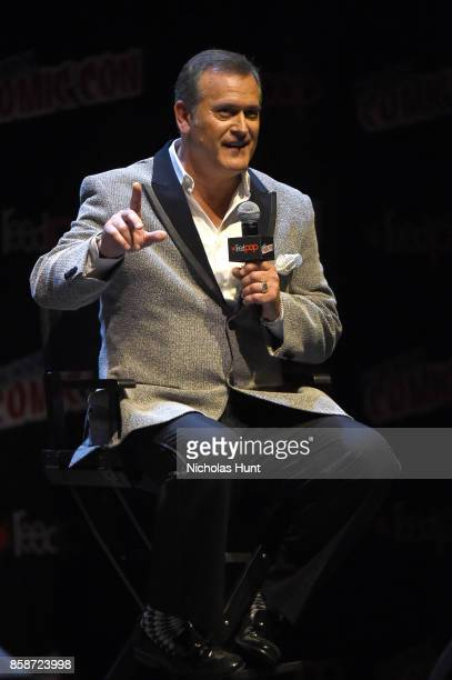 Bruce Campbell speaks onstage at the Ash Vs Evil Dead Panel during 2017 New York Comic Con - Day 3 on October 7, 2017 in New York City.