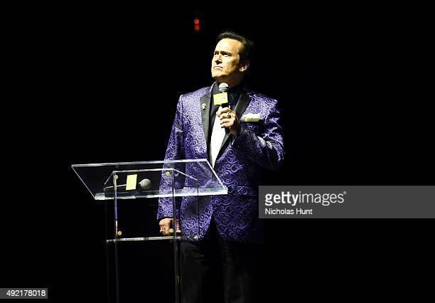 Bruce Campbell speaks onstage at the STARZ' Ash vs Evil Dead Panel At Hammerstein Ballroom During New York Comic Con at Hammerstein Ballroom on...