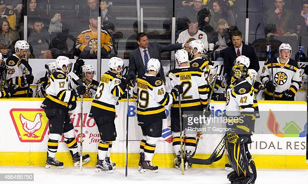 Bruce Casidy head coach of the Providence Bruins talks to his team during an American Hockey League game against the Springfield Falcons at the...