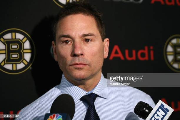 Bruce Cassidy interim head coach of the Boston Bruins speaks with the media before the game between the Bruins and the San Jose Sharks at TD Garden...