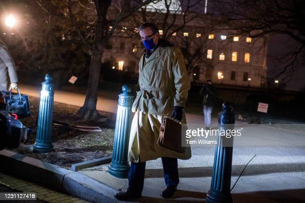 Bruce Castor, a lawyer on former President Donald Trumps legal team, leaves the Capitol after the fourth day of Trumps impeachment trial on Friday,...