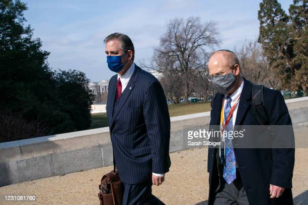 Bruce Castor and David Schoen, defense attorneys for former President Donald Trump, walk to the U.S. Capitol on February 10, 2021 in Washington, DC....