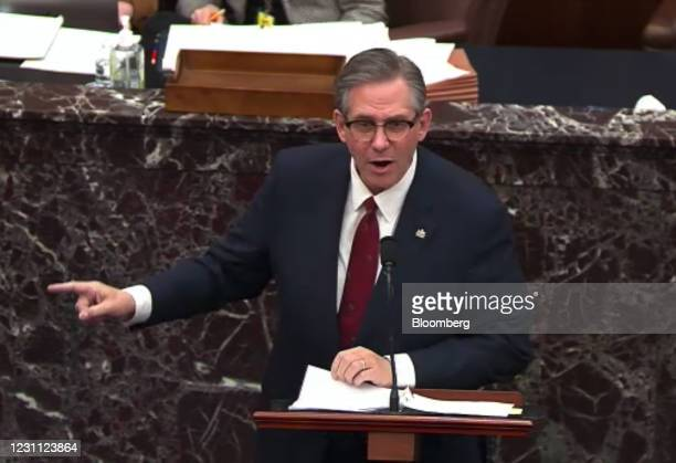 Bruce Castor, defense attorney for Donald Trump, speaks in the Senate Chamber in a video screenshot in Washington, D.C., U.S., on Friday, Feb. 12,...
