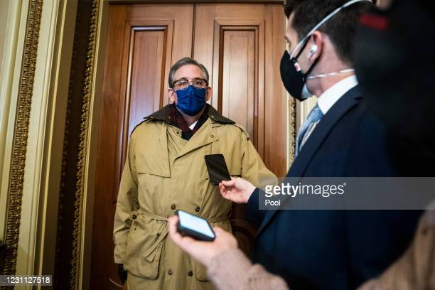 Bruce Castor, former President Donald Trump's defense lawyer, talks to reporters in the Senate Reception room on the fourth day of the second...