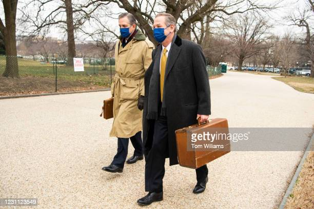 Bruce Castor, left, and Michael van der Veen, lawyers on former President Donald Trumps legal team, arrive outside the Capitol on the fourth day of...