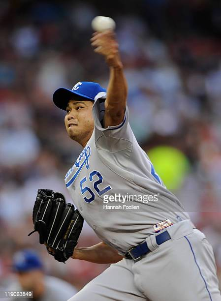 Bruce Chen of the Kansas City Royals delivers a pitch against the Minnesota Twins in the first inning on July 14 2011 at Target Field in Minneapolis...