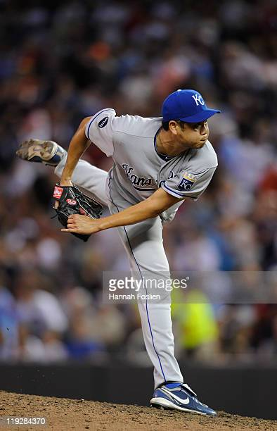 Bruce Chen of the Kansas City Royals delivers a pitch against the Minnesota Twins on July 14 2011 at Target Field in Minneapolis Minnesota
