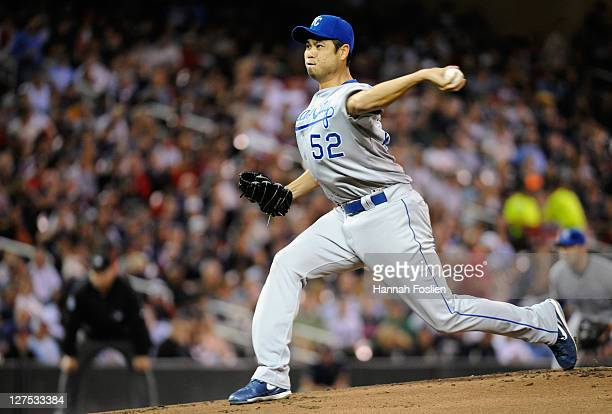 Bruce Chen of the Kansas City Royals delivers a pitch against the Minnesota Twins in the first inning on September 28 2011 at Target Field in...