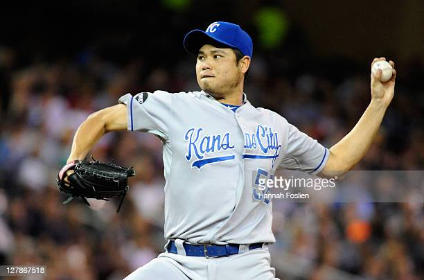 Bruce Chen of the Kansas City Royals delivers a pitch against the Minnesota Twins on September 28 2011 at Target Field in Minneapolis Minnesota