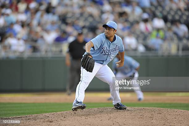 Bruce Chen of the Kansas City Royals pitches during the game against the Colorado Rockies at Kauffman Stadium in Kansas City Missouri on Saturday May...