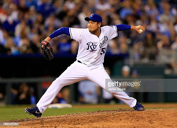 Bruce Chen of the Kansas City Royals pitches during the game against the New York Yankees at Kauffman Stadium on May 10 2013 in Kansas City Missouri