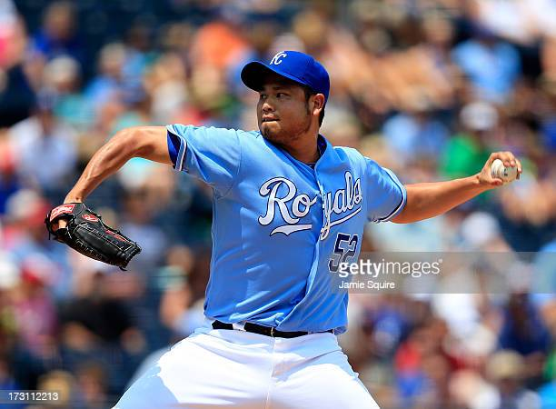 Bruce Chen of the Kansas City Royals pitches during the game against the Oakland Athletics at Kauffman Stadium on July 7 2013 in Kansas City Missouri