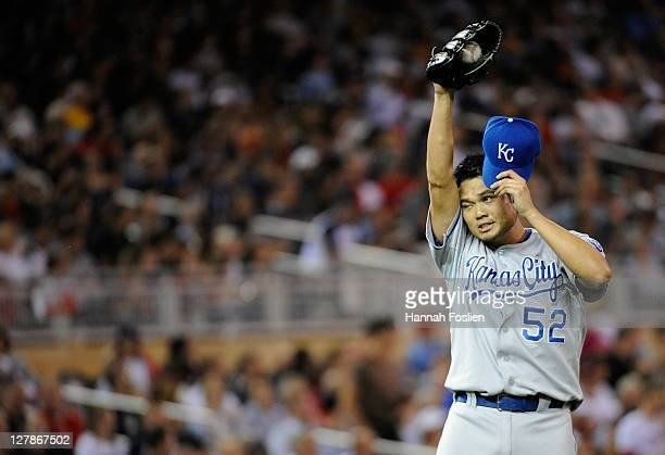 Bruce Chen of the Kansas City Royals reacts during the game against the Minnesota Twins on September 28 2011 at Target Field in Minneapolis Minnesota