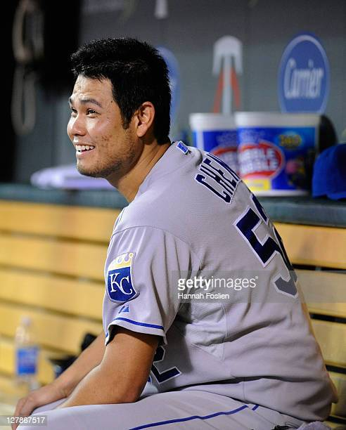 Bruce Chen of the Kansas City Royals smiles in the dugout during the game against the Minnesota Twins on September 28 2011 at Target Field in...