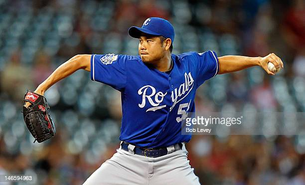 Bruce Chen of the Kansas City Royals throws against the Houston Astros at Minute Maid Park on June 20 2012 in Houston Texas