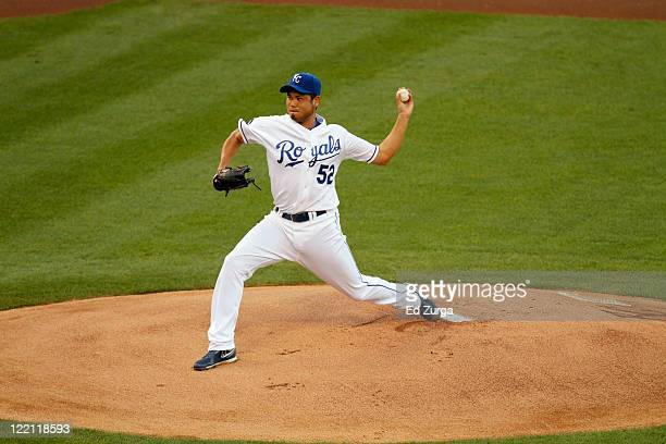 Bruce Chen of the Kansas City Royals throws in the first inning at Kauffman Stadium on August 20 2011 in Kansas City Missouri